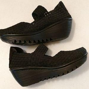 Bernie Mev black woven wedge heel shoes